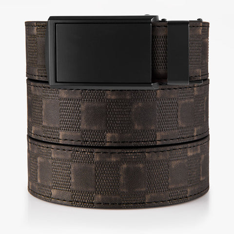 Vegan Distressed Black Checkered Belt
