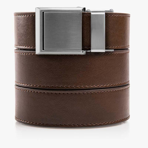 Mocha Brown Belt with Square Buckle - SlideBelts