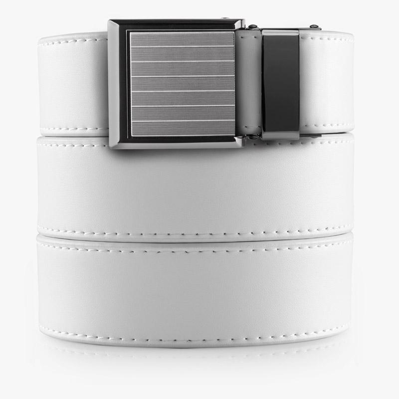 White Belt with Square Buckle - SlideBelts