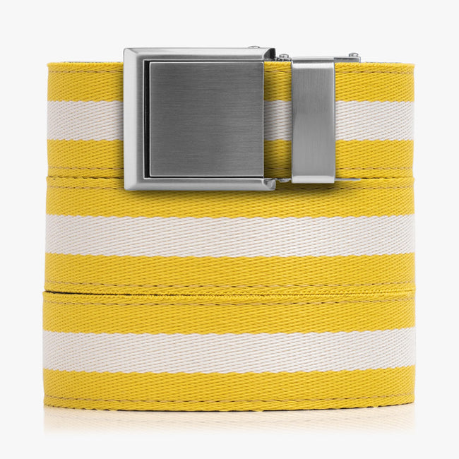 Yellow and White Canvas Belt - SlideBelts