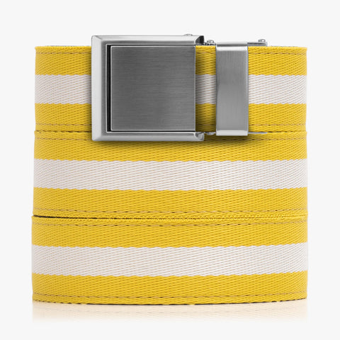 Yellow and White Canvas Belt