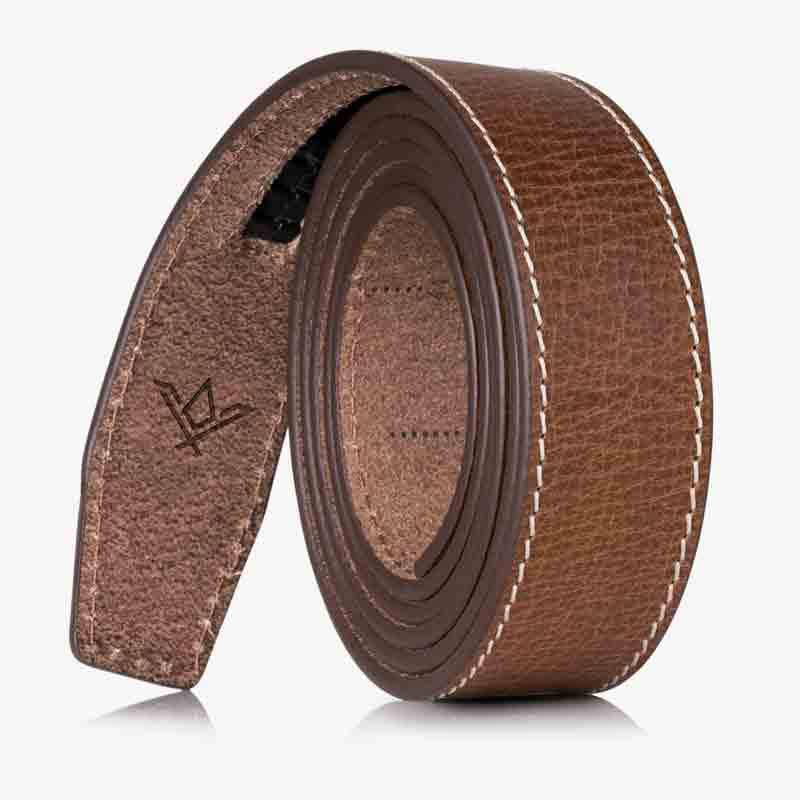 Contrast Stitching Full Grain Leather Straps - SlideBelts