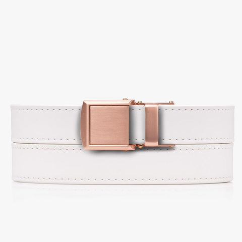 Vegan White Skinny Belt - SlideBelts