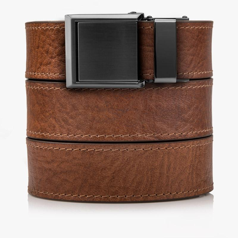 Womens Walnut Top Grain Leather Belts - SlideBelts