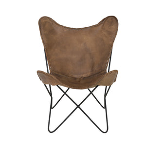 Butterfly Chair Brown Leather by Melanie Interior Design