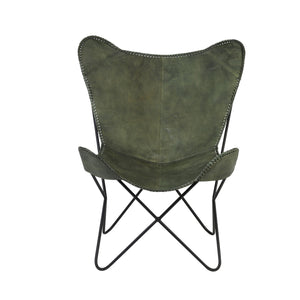 Butterfly Chair Green Leather by Melanie Interior Design