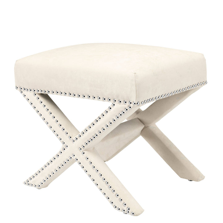 Stool Perugia Ecru Velvet by Melanie Interior Design