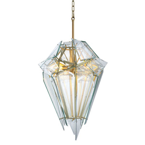 CHANDELIER SHARD SATIN GOLD FINISH CLEAR GLASS