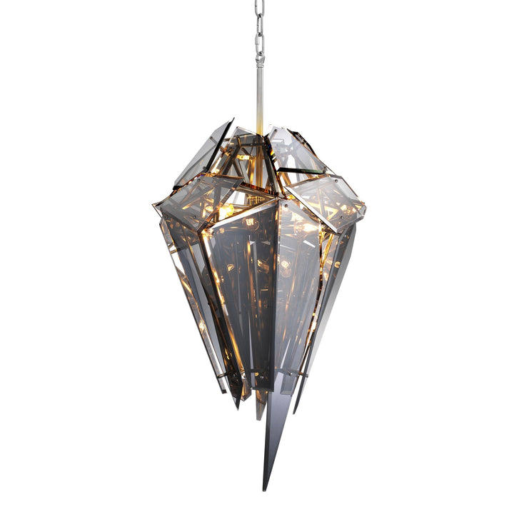 Chandelier Shard Nickel Finish Smoke Glass