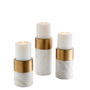 CANDLE HOLDER SIERRA WHITE MARBLE SET OF 3