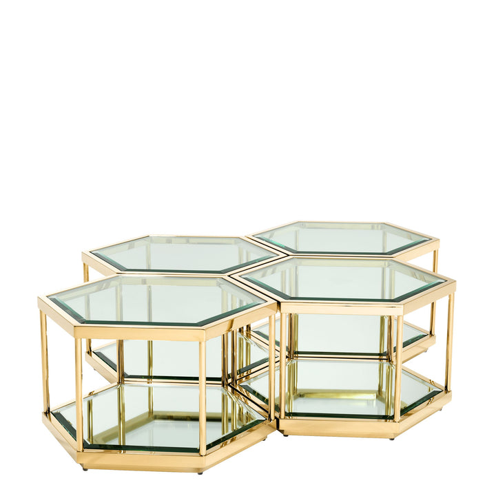 COFFEE TABLE SAX GOLD FINISH SET OF 4