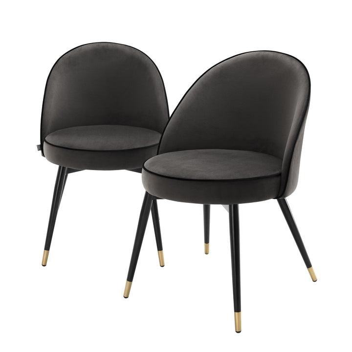 Dining Chair Cooper Dark Grey Velvet Set of 2