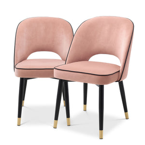 DINING CHAIR CLIFF NUDE VELVET SET OF 2 BY MELANIE INTERIOR DESIGN