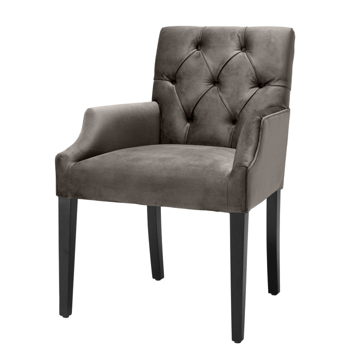 DINING CHAIR ATENA WITH ARM SAVONA GREY VELVET