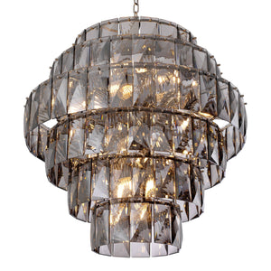 CHANDELIER AMAZONE NICKEL FINISH SMOKE GLASS L.
