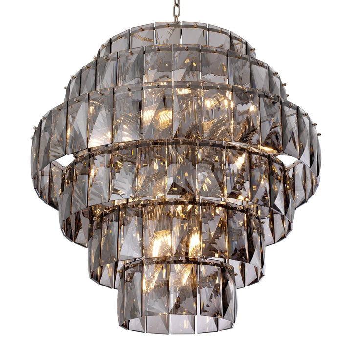 CHANDELIER AMAZONE NICKEL FINISH SMOKE GLASS L