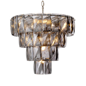 CHANDELIER AMAZONE NICKEL FINISH SMOKE GLASS S.