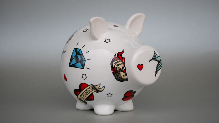 Piggy Bank with Tattoos.