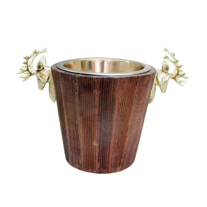 Wood & Gold Deer Wine Cooler
