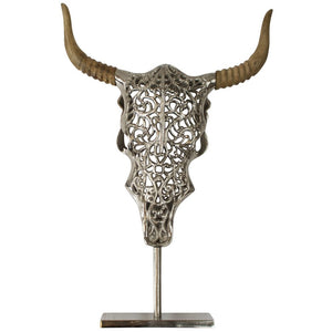 ENGRAVED BULL SKULL ON STAND 46CM