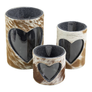 LANTERN COW HEART BROWN / WHITE 3er-SET