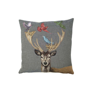 PILLOW DEER BIRD SET VON 2