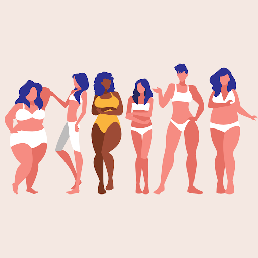 Body confident women in a variety of shapes and sizes