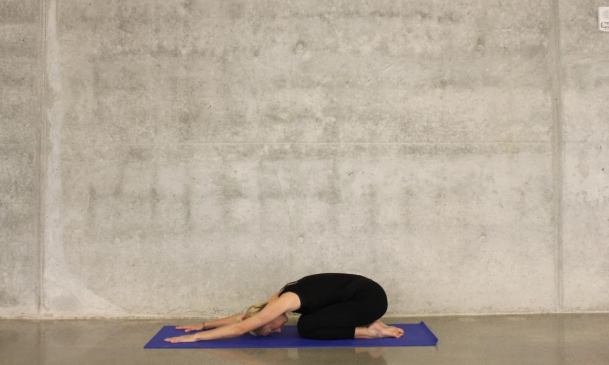 Relax pelvic floor muscles childs pose