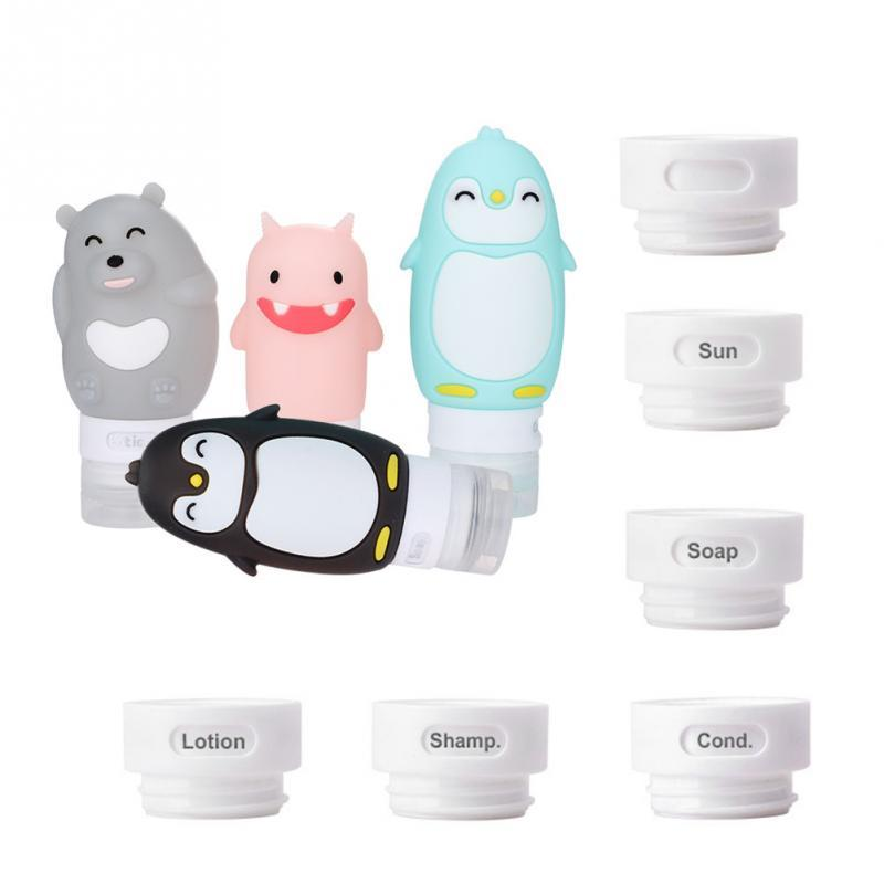 10pcs Portable Silicon Travel Bottles Set Cosmetic Container Carry-on Cream Jars Cute Cartoon Make up Bottles Container Eko Traveler