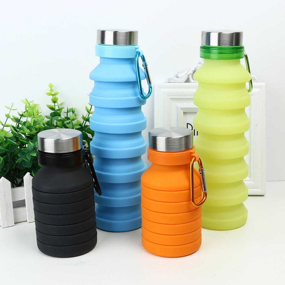 Collapsible Silicone Water Bottle - BPA Free FDA Approved Food-Grade Reusable Leakproof w/ Carabiner