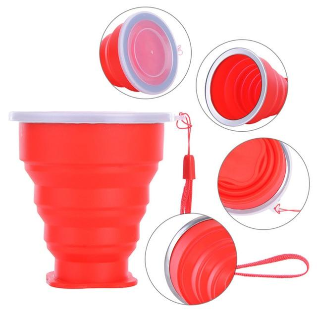 1Pcs 240ml Vogue Outdoor Travel Silicone Retractable Folding Telescopic Collapsible Portable Water Bottle Eko Traveler Red