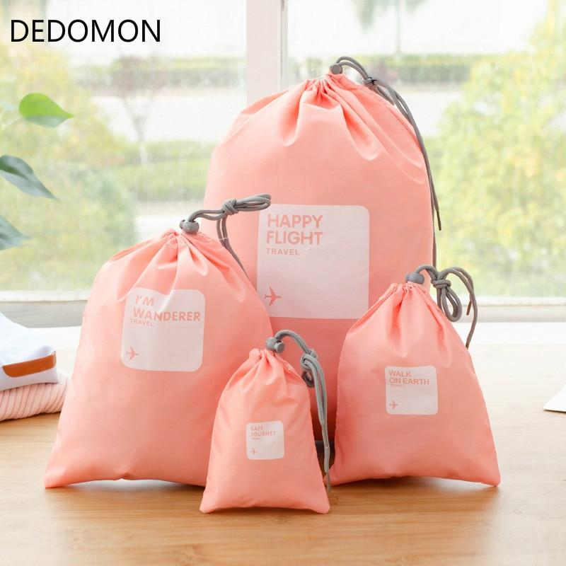 4 Pcs Travel Drawstring Bag Set Travel Accessories Organizers Packing Bags