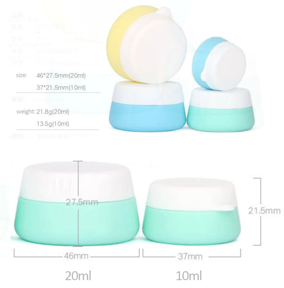 3PCS/Set Cosmetic Cream Jars Silicone Home Travel Containers Portable Face Care Reusable Makeup Round Leakproof Lotion Box Pot Eko Traveler