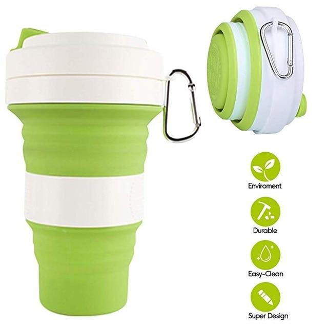 Collapsible Travel Cup, BPA Free Food-grade Silicone Mug for Hot & Cold Drinks, Portable Carabiner