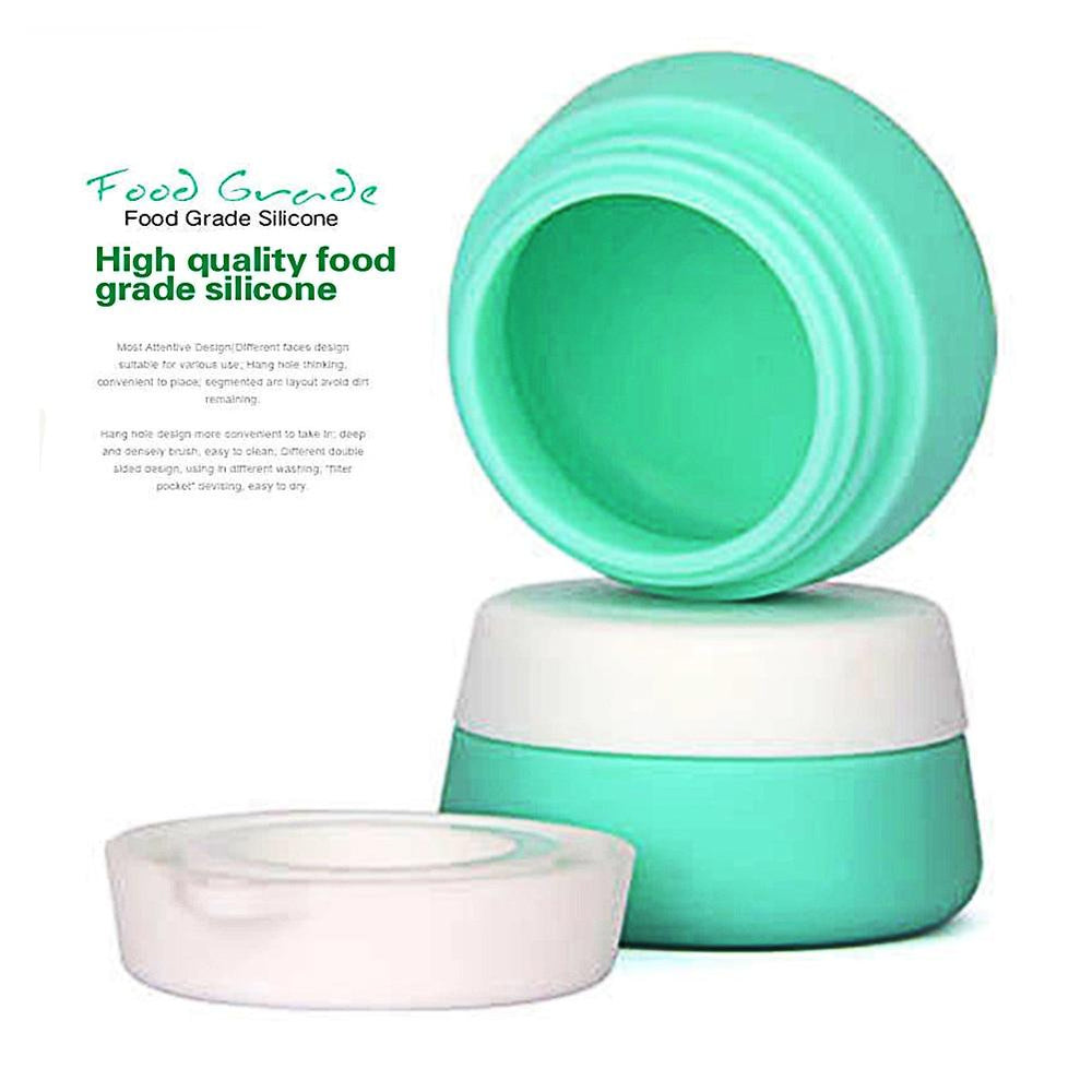 3 Pcs Travel Container Set, Silicone Cream Jars TSA-Approved Compact Travel Size w/ Hard Sealed Lid
