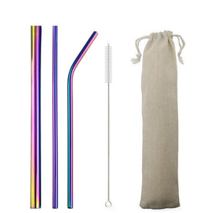 5pcs Reusable 304 Stainless Steel Straw Metal Smoothies Drinking Straight Straws Silicone Cover with Brush Bag Wholesale Eko Traveler