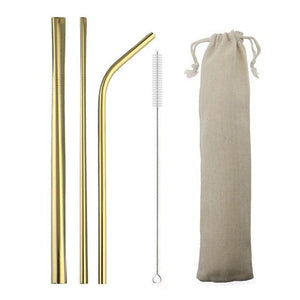 5pcs Reusable 304 Stainless Steel Straw Metal Smoothies Drinking Straight Straws Silicone Cover with Brush Bag Wholesale Eko Traveler Gold