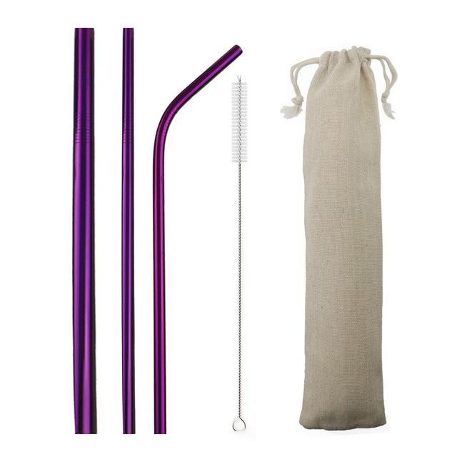 5pcs Reusable 304 Stainless Steel Straw Metal Smoothies Drinking Straight Straws Silicone Cover with Brush Bag Wholesale Eko Traveler Purple