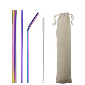5pcs Reusable 304 Stainless Steel Straw Metal Smoothies Drinking Straight Straws Silicone Cover with Brush Bag Wholesale Eko Traveler Rainbow