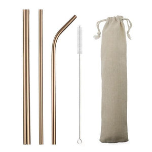 5pcs Reusable 304 Stainless Steel Straw Metal Smoothies Drinking Straight Straws Silicone Cover with Brush Bag Wholesale Eko Traveler Rose