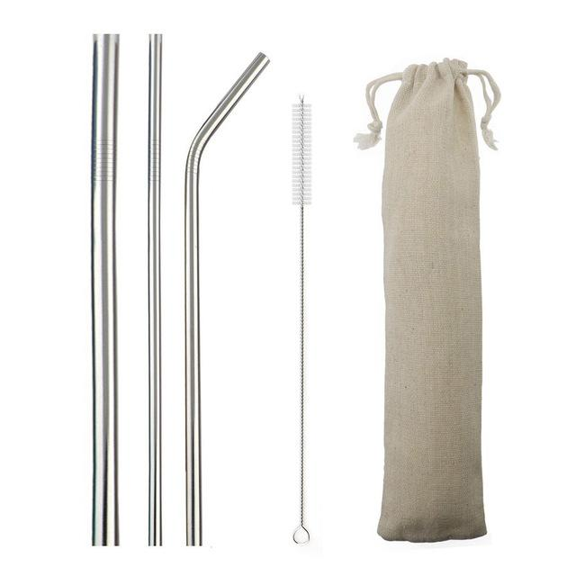 5pcs Reusable 304 Stainless Steel Straw Metal Smoothies Drinking Straight Straws Silicone Cover with Brush Bag Wholesale Eko Traveler Silver