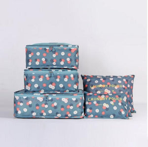 6pcs/set Nylon Packing Cube Large Capacity Double Zipper Waterproof Bag Luggage Clothes Tidy Sorting Pouch Portable Organizer Eko Traveler Blue flowers