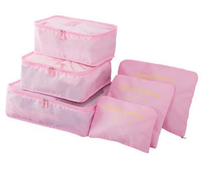 6pcs/set Nylon Packing Cube Large Capacity Double Zipper Waterproof Bag Luggage Clothes Tidy Sorting Pouch Portable Organizer Eko Traveler pink