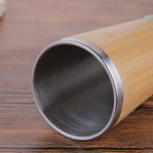 Bamboo Coffee Cup Stainless Steel Coffee Travel Mug With Leak-Proof Cover Insulated Coffee Accompanying Cup Reusable Cup Eko Traveler