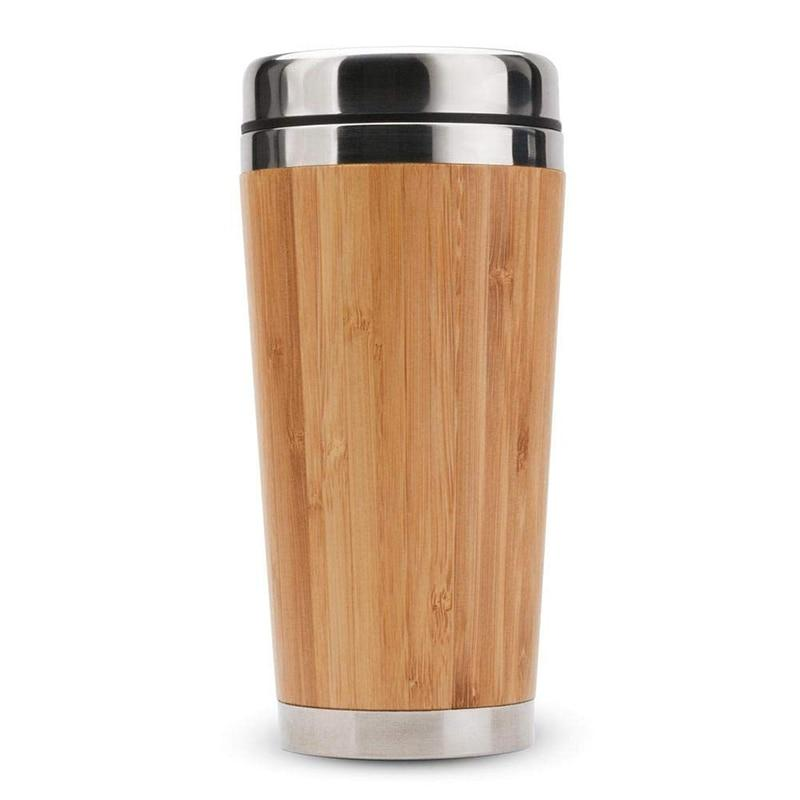 Bamboo Travel Mug - Insulated Stainless Steel Coffee & Tea Cup Leak-Proof Lid Easy to Clean Tumbler