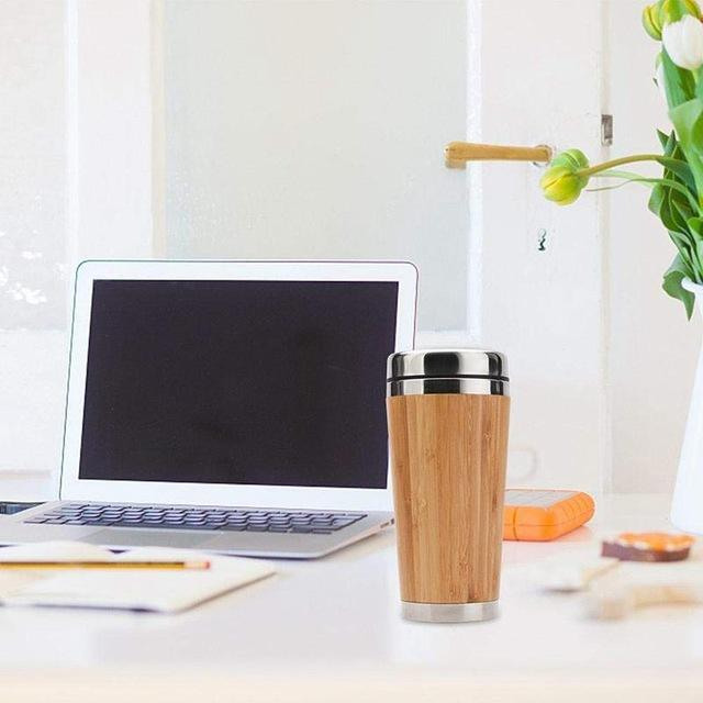 Bamboo Travel Mug - Insulated Stainless Steel Coffee & Tea Cup Leak-Proof Lid Easy to Clean Tumbler Eko Traveler