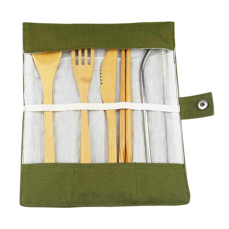 Bamboo Travel Utensils Cutlery Set: Reusable, Eco-Friendly, Lightweight, Portable - Rolling Pouch Eko Traveler