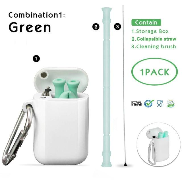 Collapsible Silicone Straw Reusable Foldable Drinking Straw with Carrying Case and Cleaning Brush for Travel, Home, Office Eko Traveler Collapsible 2