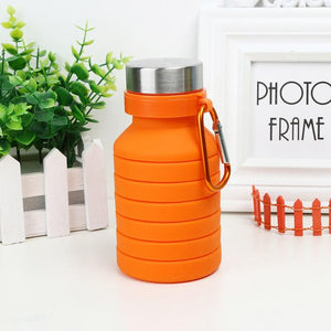 Collapsible Silicone Water Bottle - BPA Free FDA Approved Food-Grade Reusable Leakproof w/ Carabiner Eko Traveler