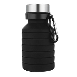 Collapsible Silicone Water Bottle - BPA Free FDA Approved Food-Grade Reusable Leakproof w/ Carabiner Eko Traveler Black